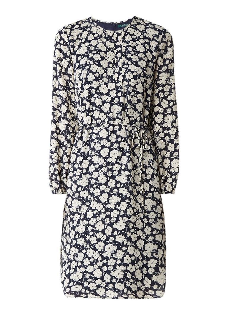 Ralph Lauren Tuniekjurk met strikceintuur en bloemendessin donkerblauw