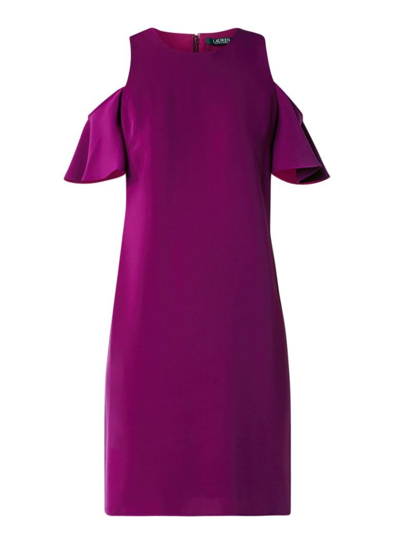 Ralph Lauren Cold shoulder jurk met korte mouw paars
