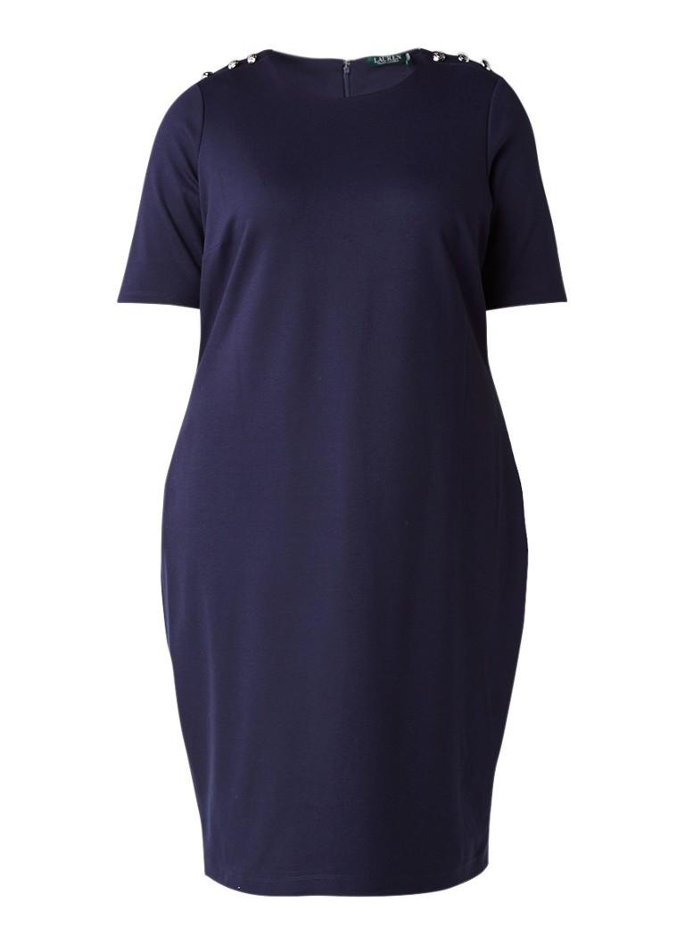 Ralph Lauren Midi jurk van jersey met sierknopen donkerblauw