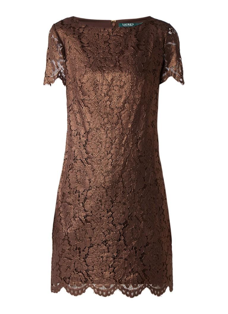 Ralph Lauren Midi-jurk van gebloemd kant bronsgroen