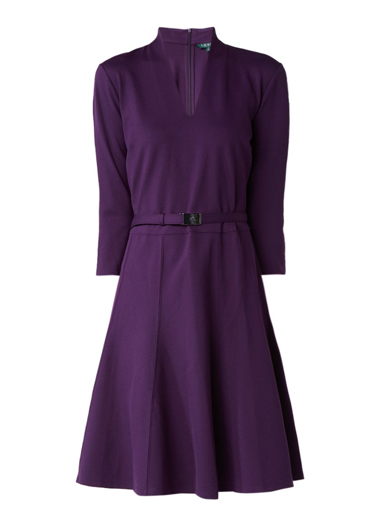 Ralph Lauren A-lijn jurk met ceintuur aubergine