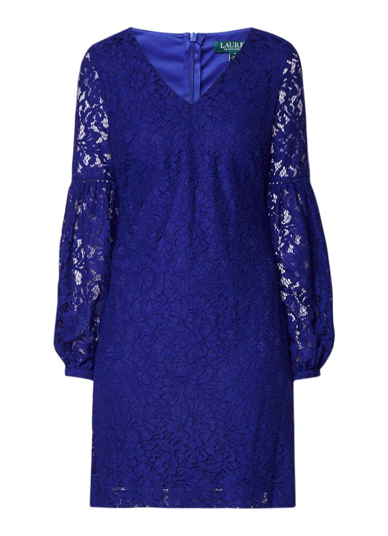 Ralph Lauren Brie jurk van gebloemd kant met ballonmouw kobaltblauw