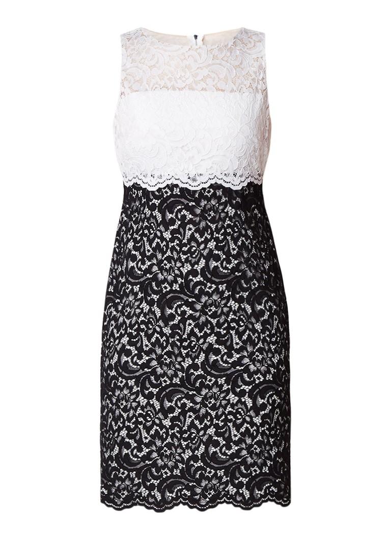 Ralph Lauren Vania midi-jurk van gebloemd kant met colour blocking zwart