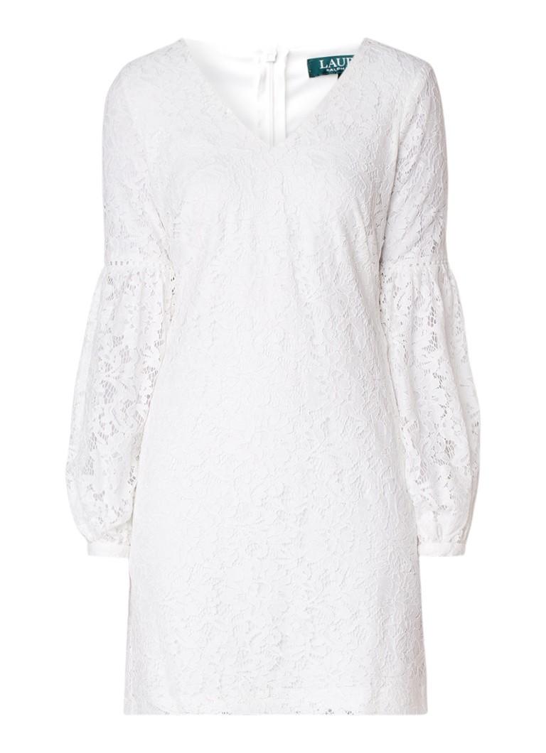 Ralph Lauren Brie jurk van gebloemd kant met ballonmouw wit