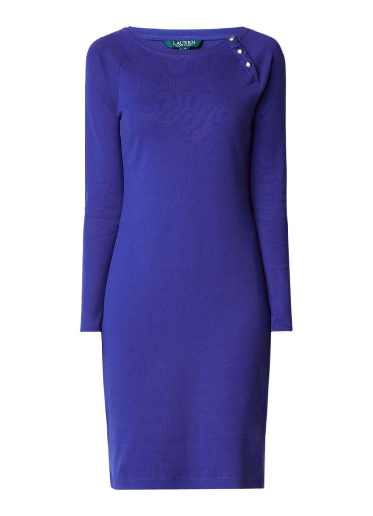 Ralph Lauren Midi-jurk van katoen met knopendetail paars
