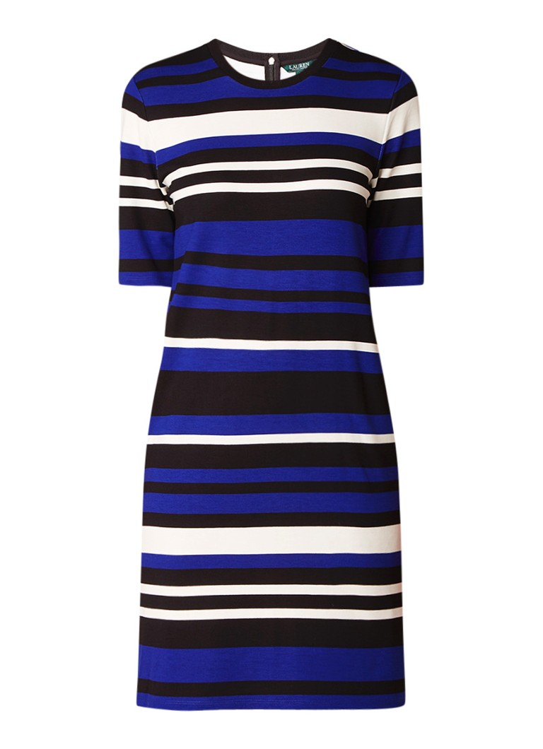 Ralph Lauren Jersey midi-jurk met streepdessin kobaltblauw