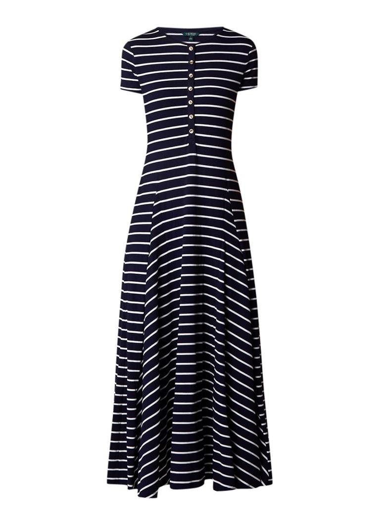 Ralph Lauren Maxi-jurk van jersey met streepdessin donkerblauw