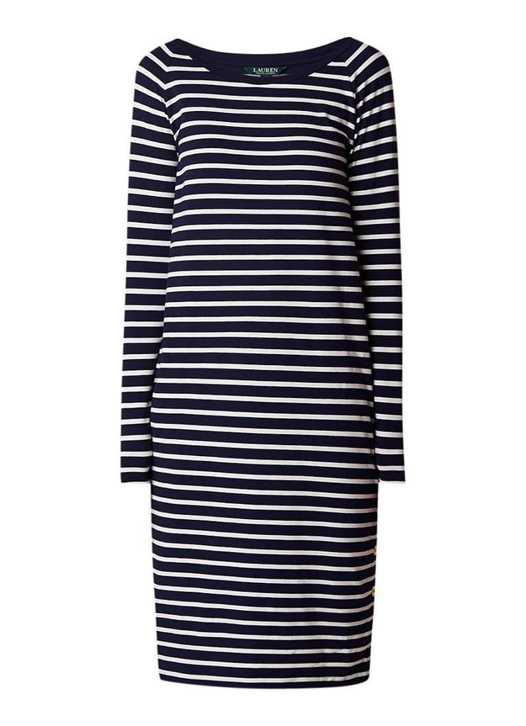 Ralph Lauren Midi-jurk van jersey met streepdessin en knoopdetails donkerblauw