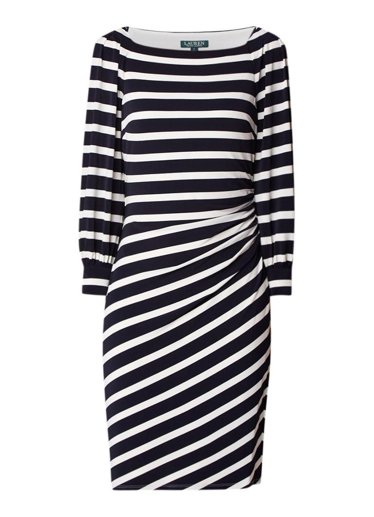 Ralph Lauren Midi-jurk met streepdessin en plooidetails donkerblauw