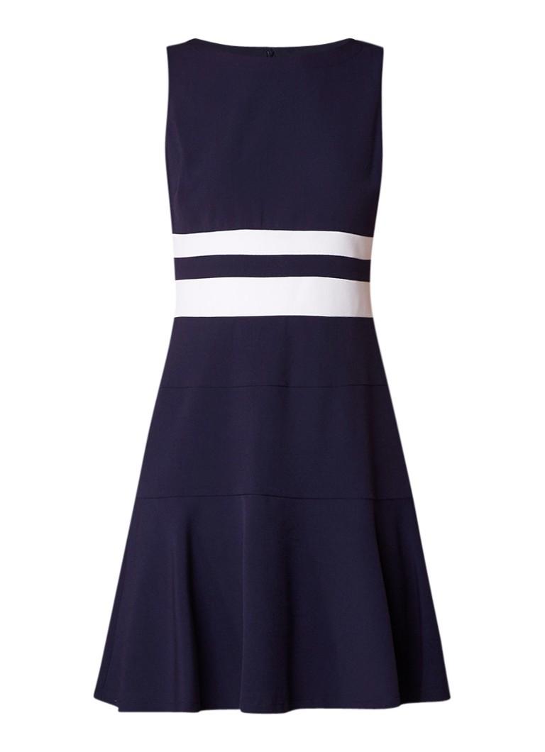 Ralph Lauren A-lijn jurk met ronde hals en streepdetail donkerblauw