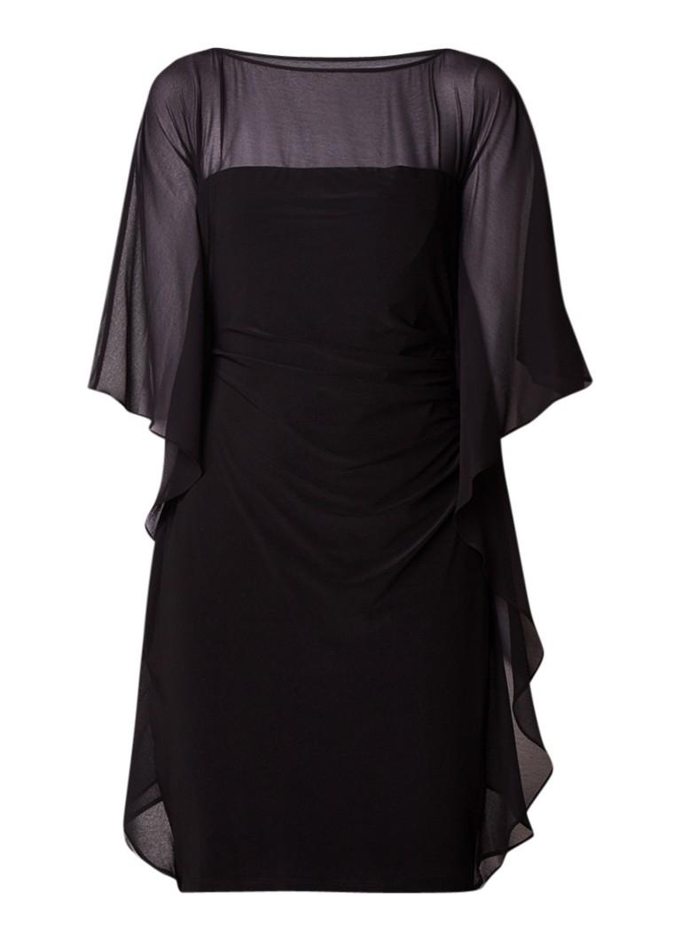 Ralph Lauren Kokerjurk met draperie en contraststof zwart