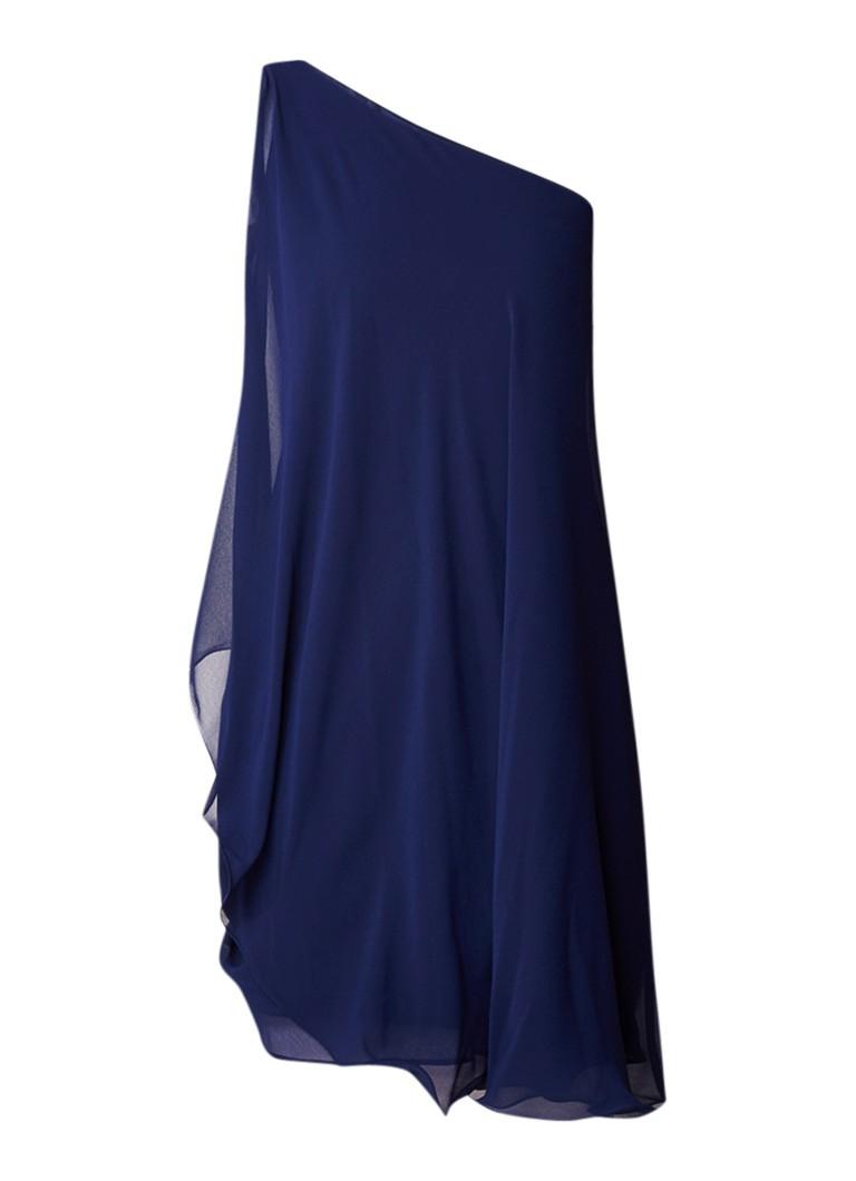 Ralph Lauren One shoulder jurk met overlay en volant donkerblauw