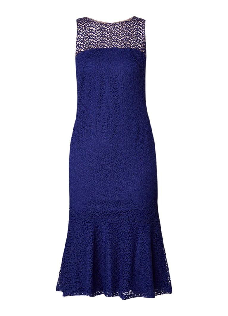 Ralph Lauren Tuniekjurk van gebloemd kant blauw