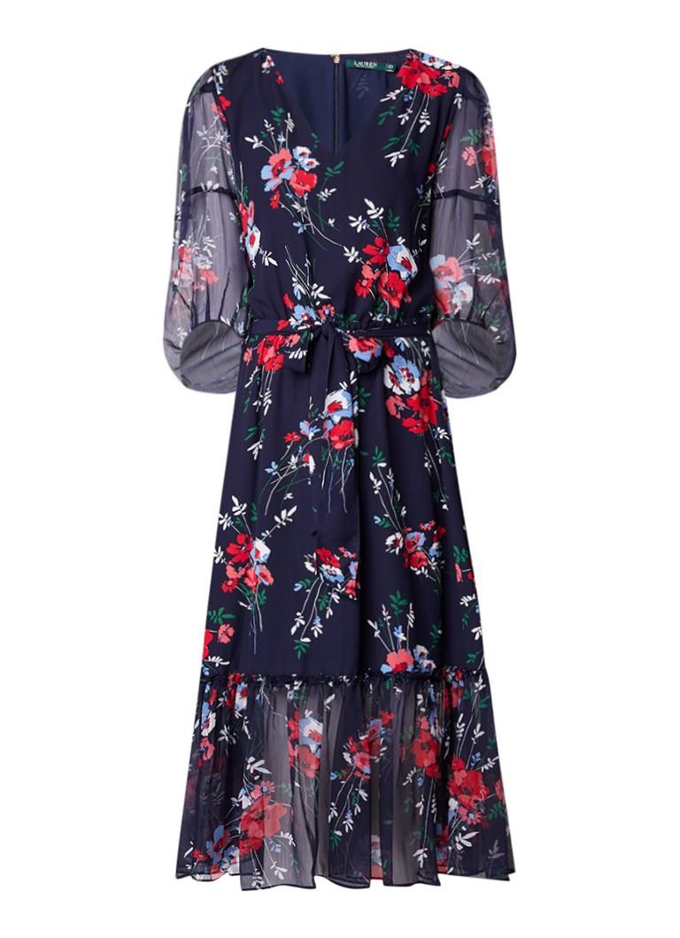 Ralph Lauren Gedrapeerde jurk met bloemendessin en ballonmouw donkerblauw