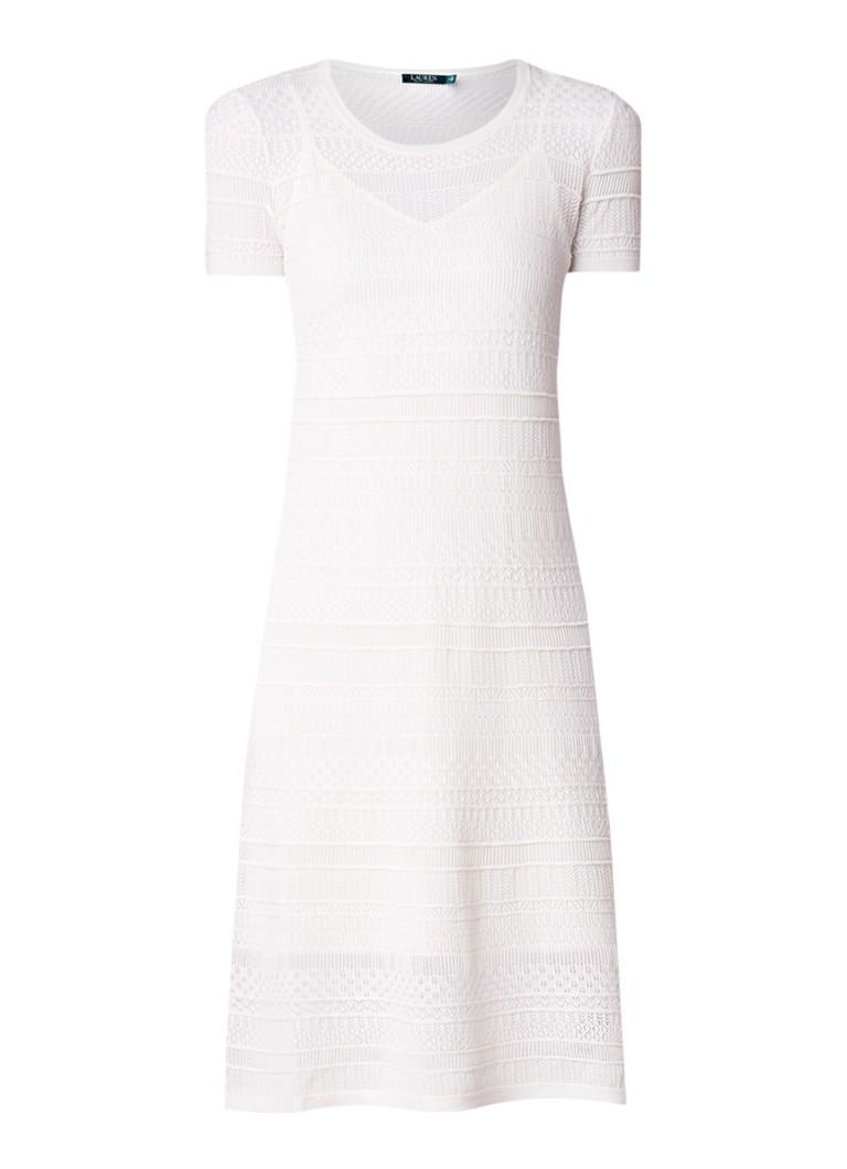 Ralph Lauren Gebreide jurk met opengewerkt patroon ivoor