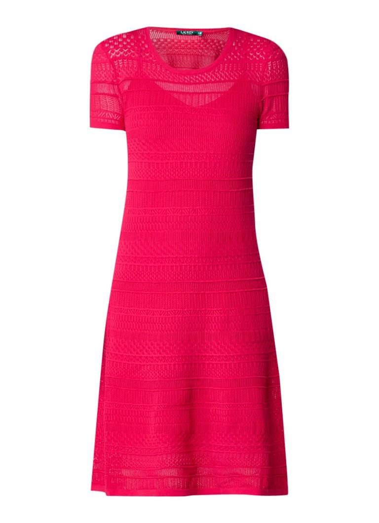 Ralph Lauren Gebreide jurk met opengewerkt patroon fuchsia