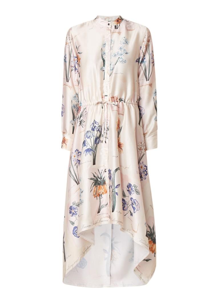 Ralph Lauren Asymmetrische blousejurk van satijn met bloemendessin creme