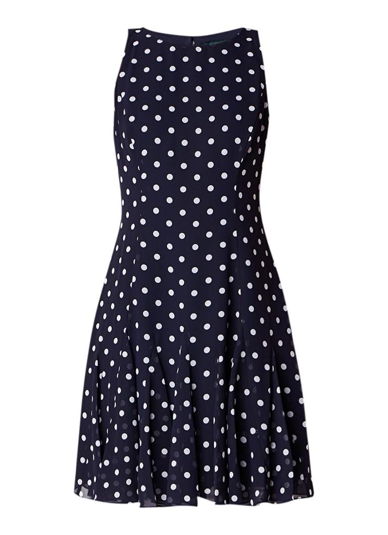 Ralph Lauren Cosmina A-lijn jurk met gestipt dessin donkerblauw