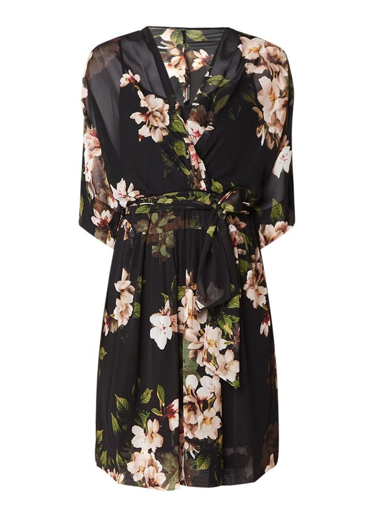 Ralph Lauren Avala A-lijn jurk van chiffon met kimono mouw en ceintuur zwart