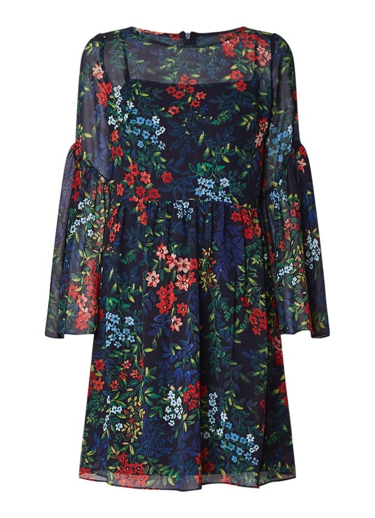 Ralph Lauren Oceania A-lijn jurk van chiffon met bloemendessin en trompetmouw donkerblauw