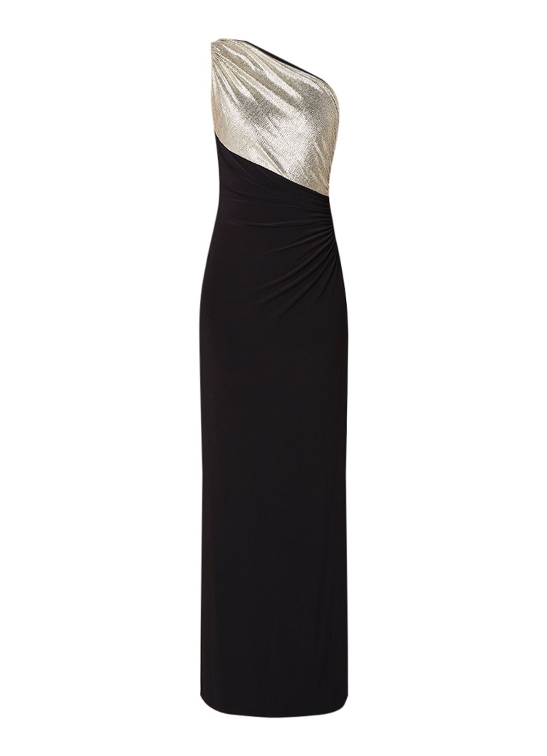 Ralph Lauren Tena one shoulder galajurk met split en lurex zwart