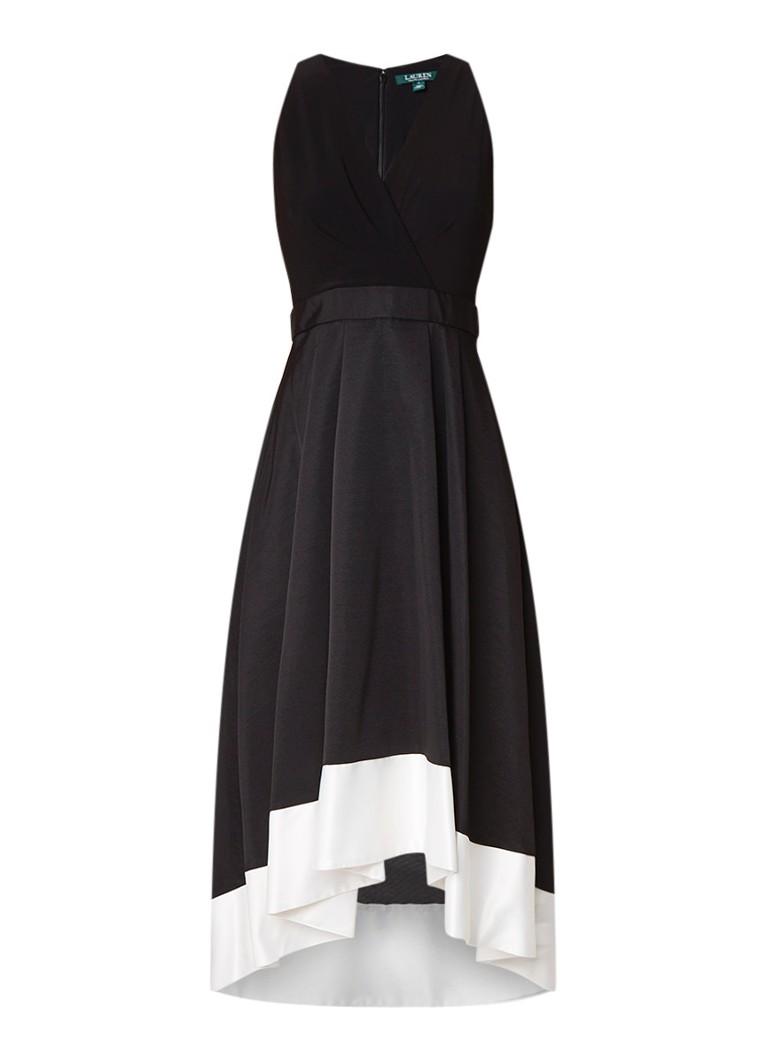 Ralph Lauren Asymmetrische maxi-jurk met inzet van satijn zwart