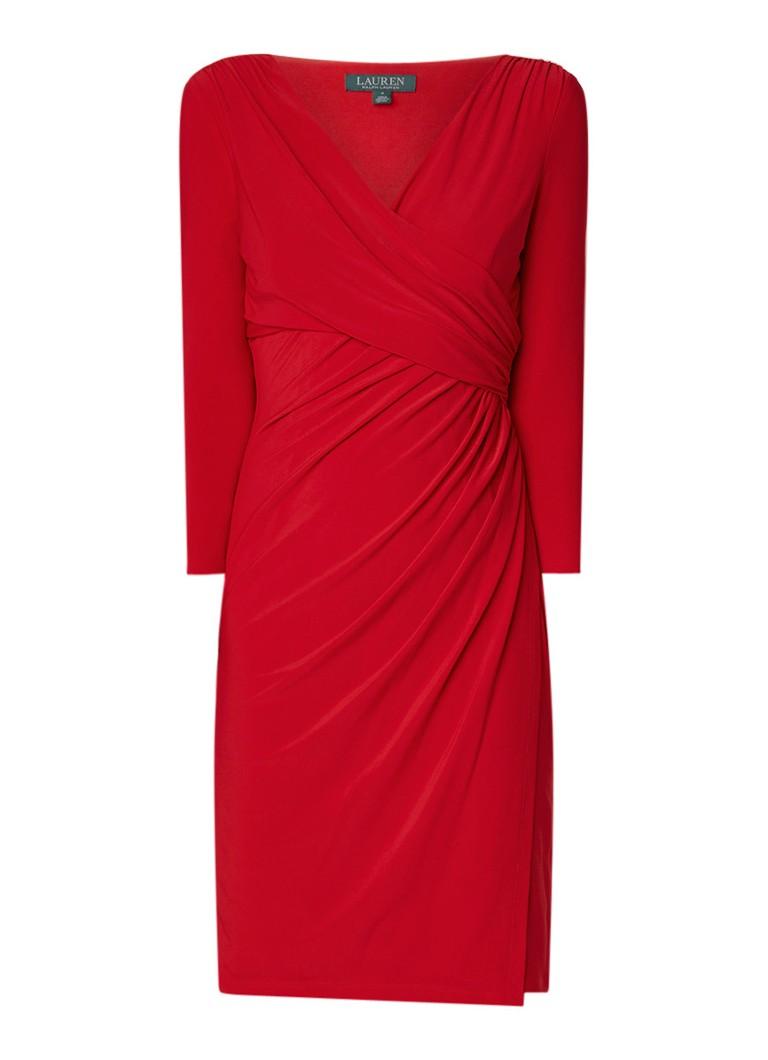 Ralph Lauren Electa kokerjurk met stretch en geplooide details rood
