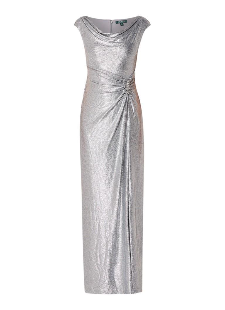 Ralph Lauren Galajurk met draperie en siersteen zilver