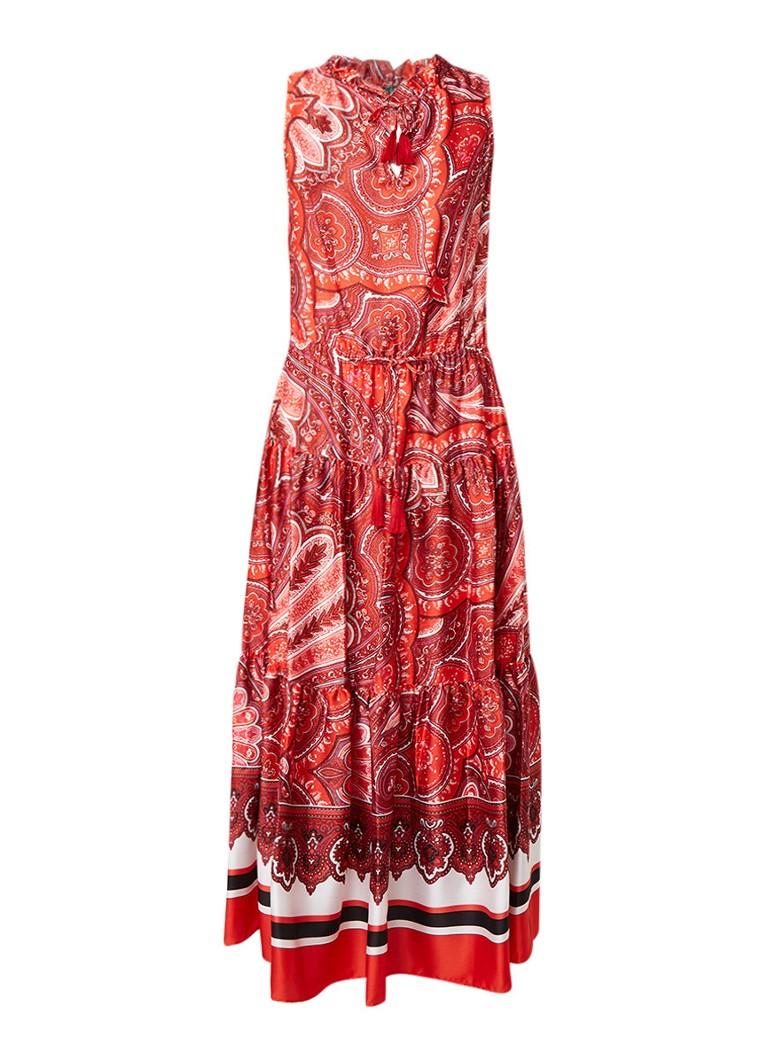 Ralph Lauren Maxi-jurk met paisleyprint en taillekoord kersenrood