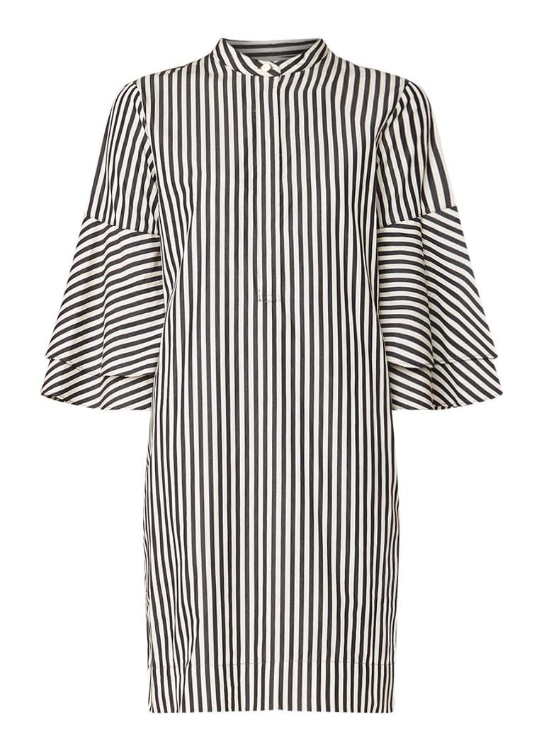 Ralph Lauren Midi blousejurk met streepdessin en klokmouw zwart