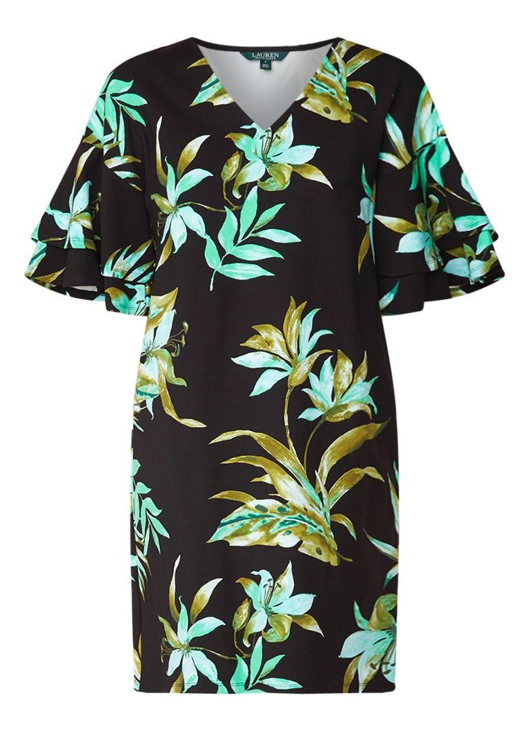 Ralph Lauren Loose fit jurk van stevig jersey met bloemendessin zwart