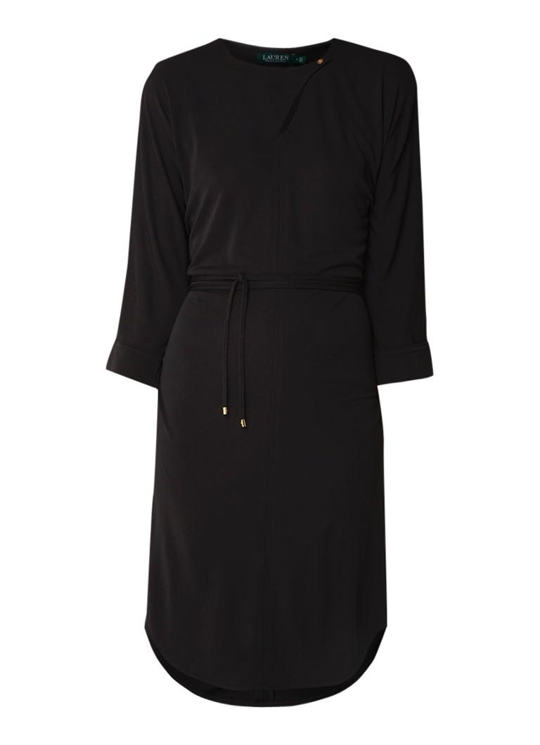 Ralph Lauren Midi-jurk met strikceintuur en keyhole zwart