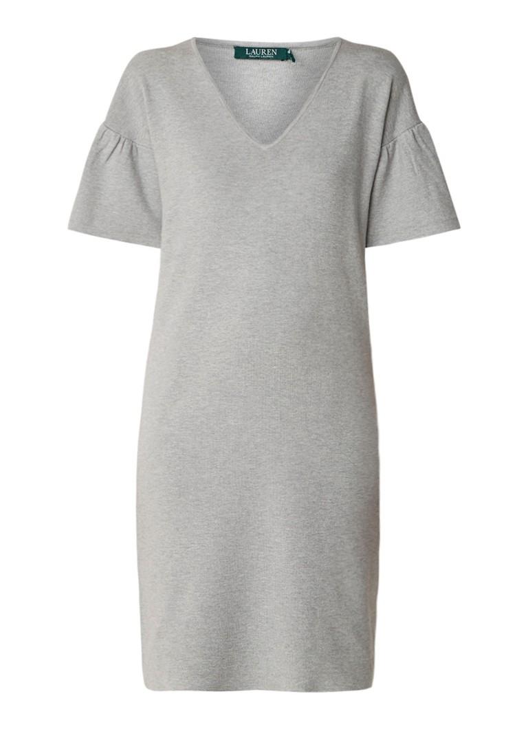 Ralph Lauren Fijngebreide midi-jurk met volantmouw grijs