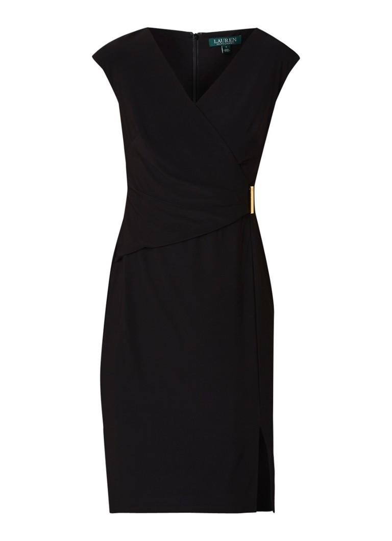 Ralph Lauren Aideena midi-jurk van jersey met V-hals en overslag zwart
