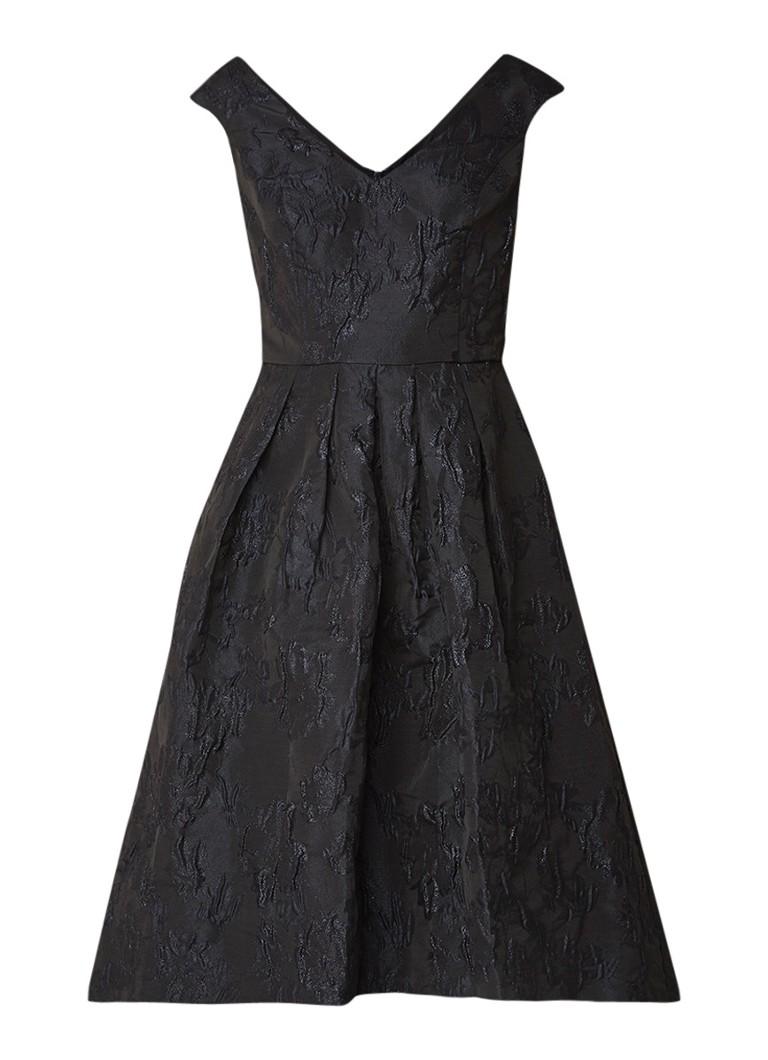 Ralph Lauren Angelicara midi-jurk met structuur en lurex zwart