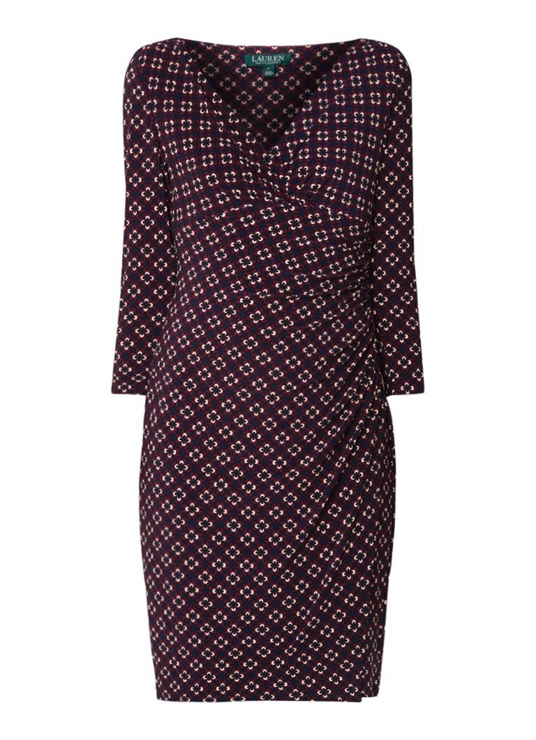 Ralph Lauren Elsie midi-jurk van jersey met bloemendessin en overslag bordeauxrood