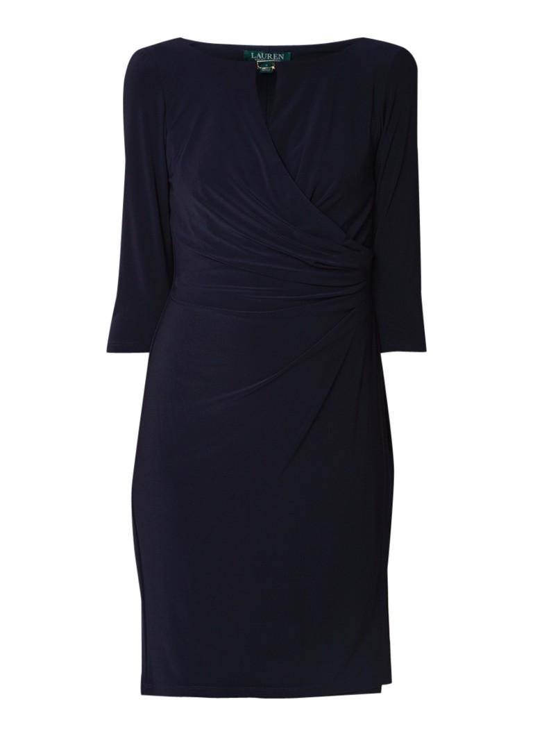 Ralph Lauren Kelby midi-jurk van jersey met draperie en overslag donkerblauw
