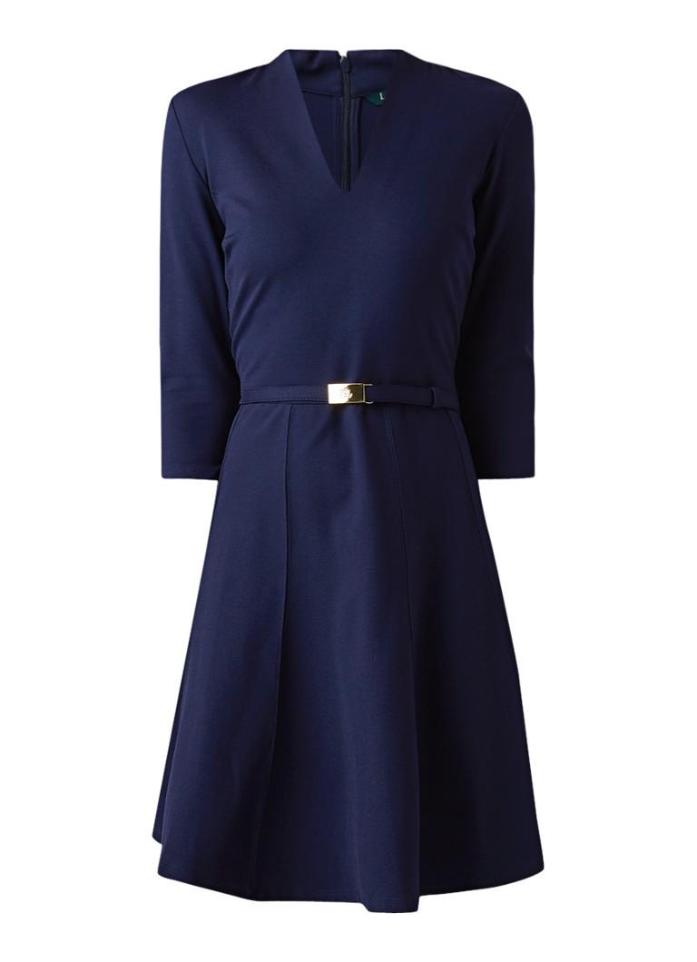 Ralph Lauren A-lijn jurk van jersey met ceintuur donkerblauw