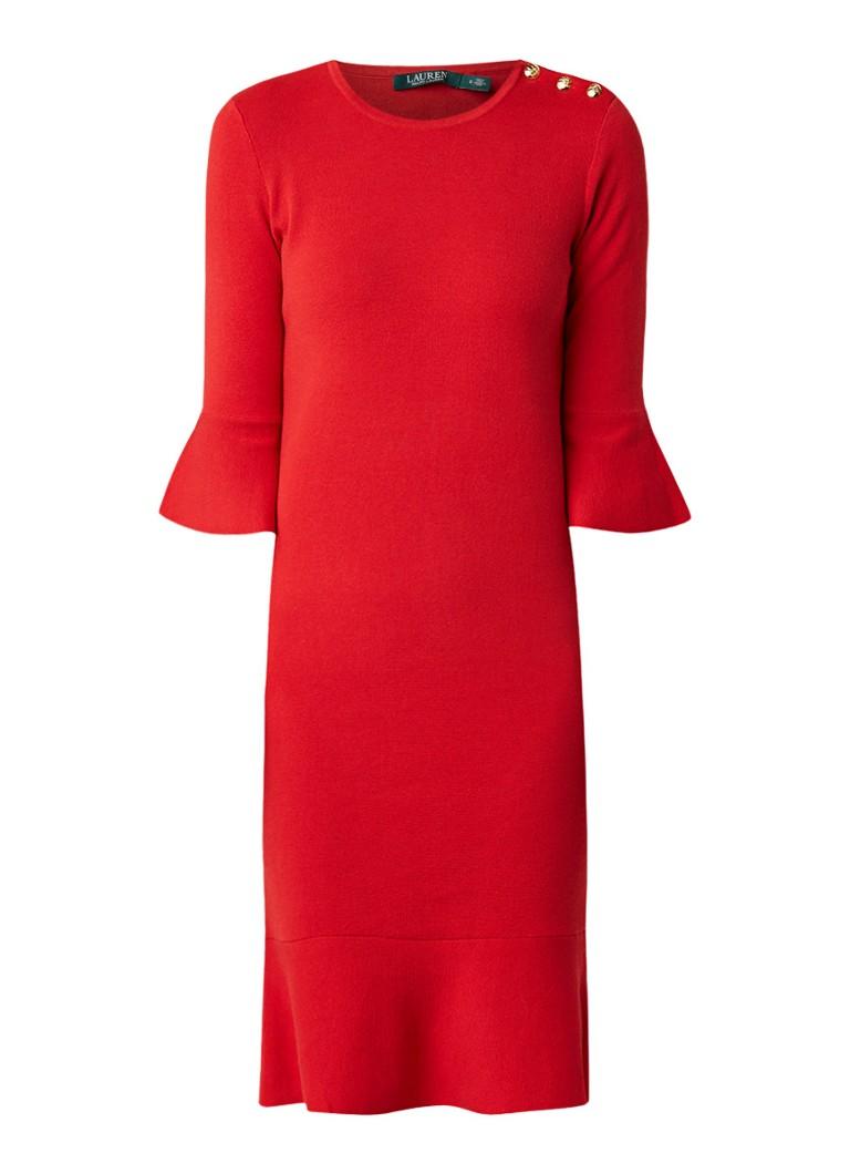 Ralph Lauren Fijngebreide fitted jurk met volant vuurrood