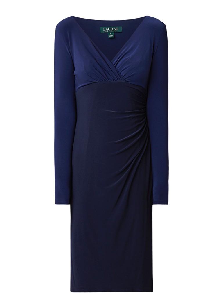 Ralph Lauren Fitted tweekleurige jurk van jersey donkerblauw