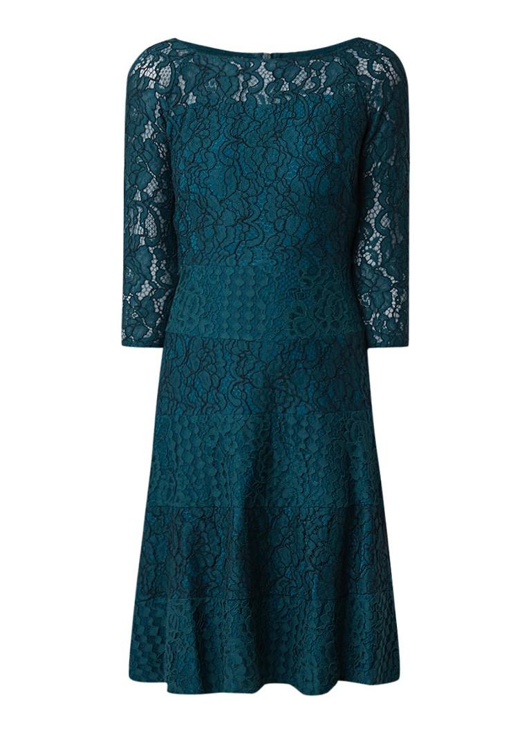 Ralph Lauren A-lijn jurk van kant met driekwartmouw flessengroen