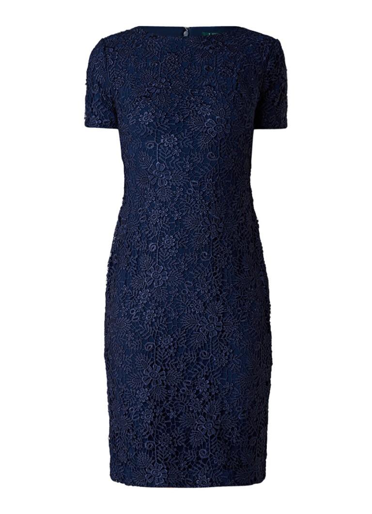 Ralph Lauren Midi-jurk van gebloemd kant donkerblauw