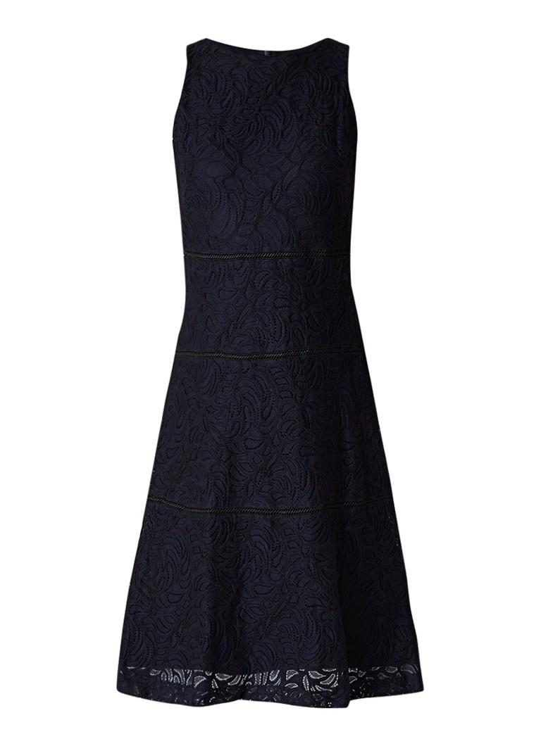 Ralph Lauren Mouwloze midi-jurk van gebloemd kant donkerblauw