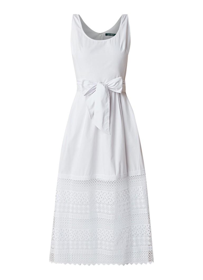 Ralph Lauren Mouwloze maxi-jurk van katoen met inzet van kant wit