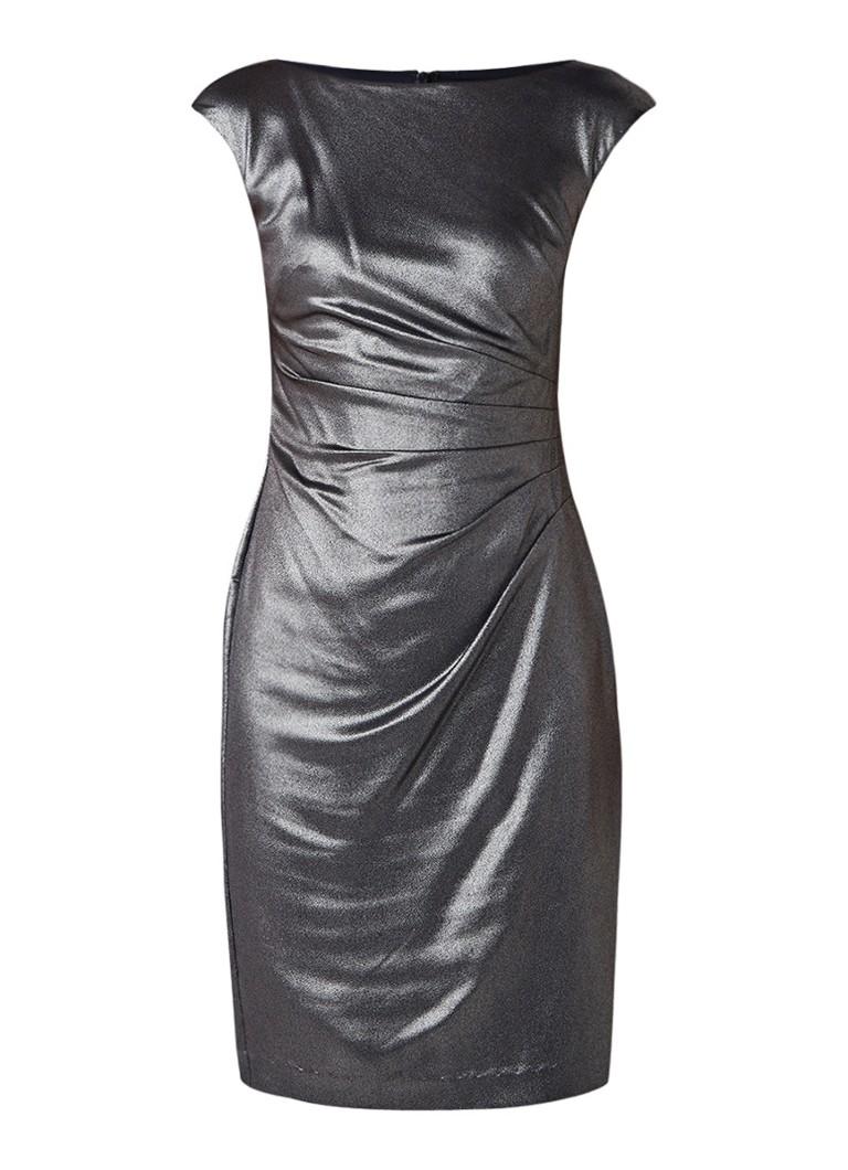 Ralph Lauren Kokerjurk met plooidetail en metallic finish donkerblauw