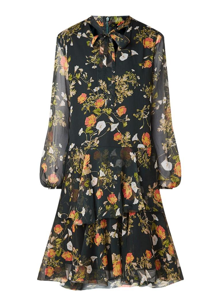 Ralph Lauren Midi-jurk met bloemendessin en ruches donkergroen