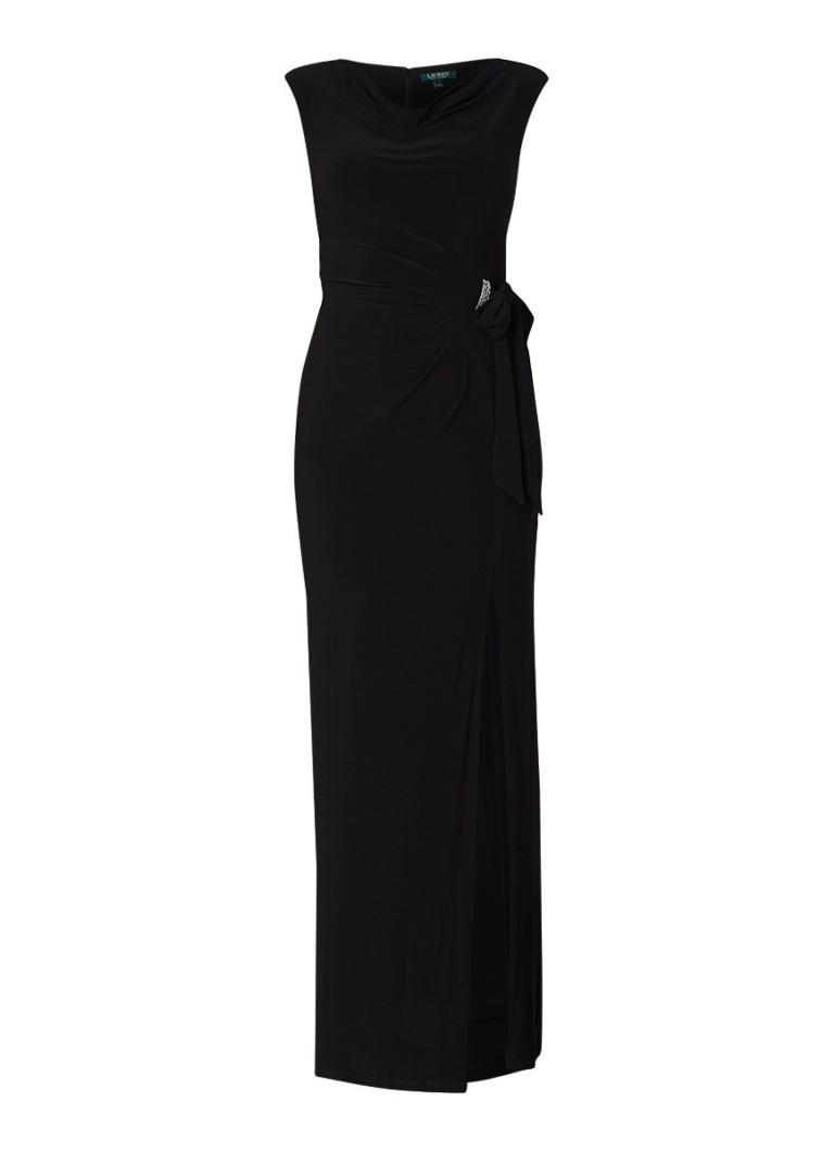 Ralph Lauren Shayla galajurk van jersey met strikdetail zwart