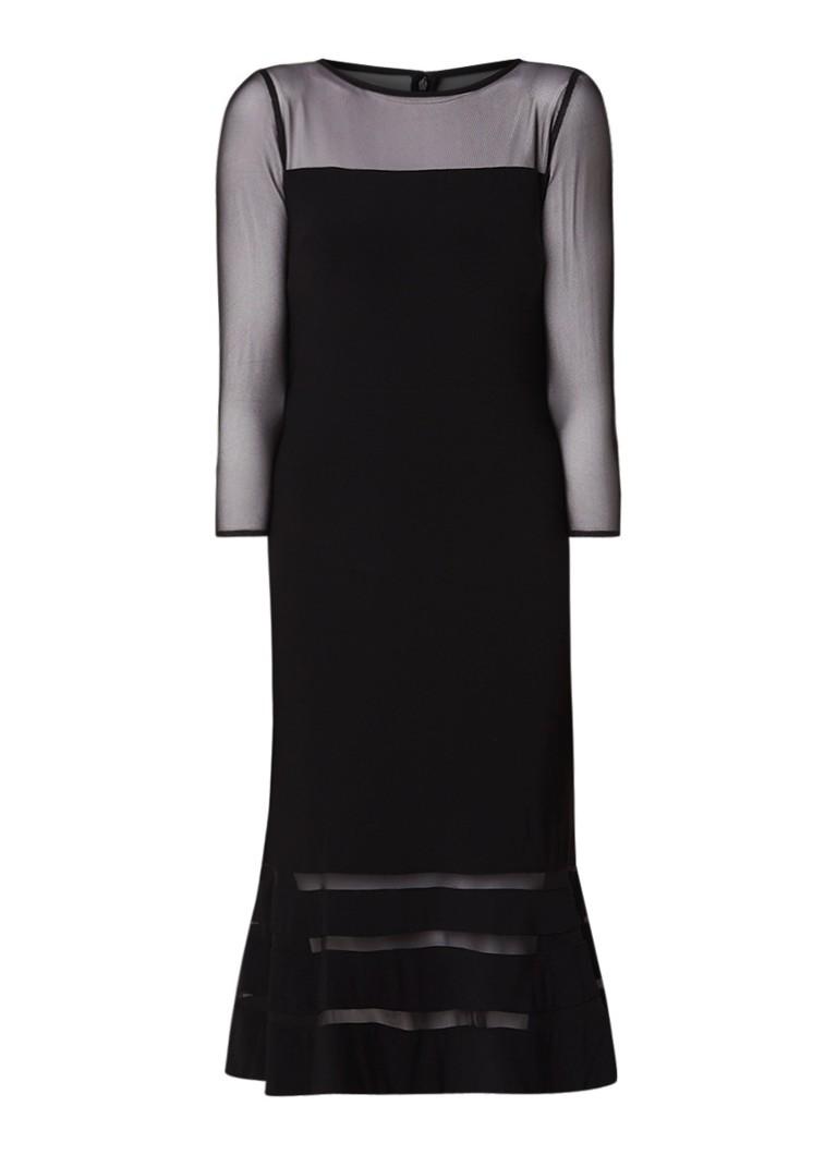 Ralph Lauren Midi-jurk van jersey met inzet van mesh zwart