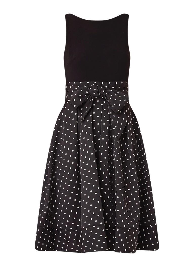Ralph Lauren A-lijn jurk met gestipt dessin en strikceintuur zwart