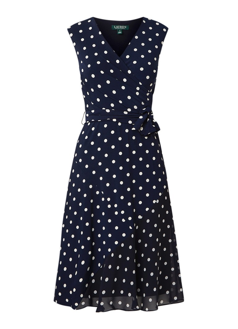 Ralph Lauren Jori mouwloze midi-jurk met stippendessin en strikceintuur donkerblauw